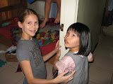 Bethanie with one of the kids at church
