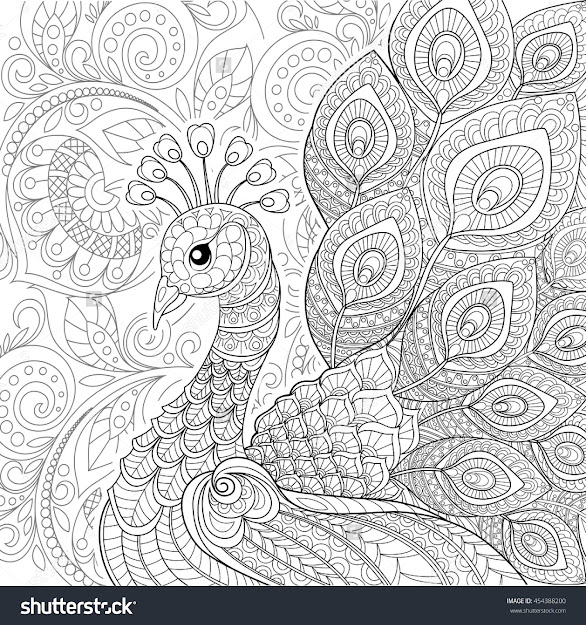 Peacock In Zentangle Style Adult Antistress Coloring Page Black And White  Hand Drawn Doodle