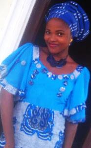 girl, blue ankara gown with ruffles