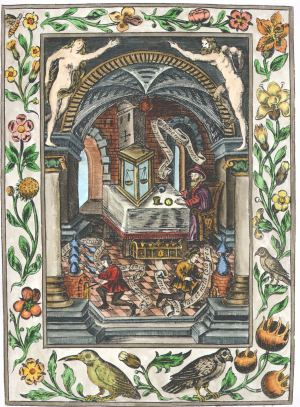 The Alchemist In His Study And Laboratory, Emblems Related To Alchemy