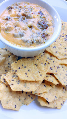 Rosemary and Cheddar Breakfast Sausage dip paired with Food Should Taste Good gluten free GMO free Multigrain Chips