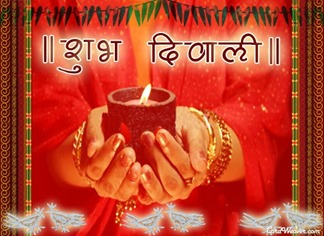 shubh diwali greeting card image red green yellow shades diya in hand Free orkut scrap
