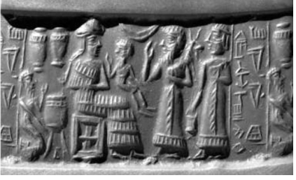 A Mesopotamian cylinder seal impression referring to the personal translator of the ancient Indus or Meluhan language, Shu-ilishu, who lived around 2020 BCE during the late Akkadian period. Shows a seated figure with a small figure in their lap, two standing figures in front facing them, and a crouching figure behind the seated figure. Pottery and inscriptions are shown around the figures.