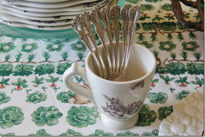 Bunny Toile Mug holding forks