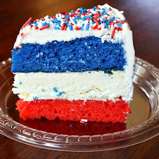 Red, White and Blue Cheesecake Cake.