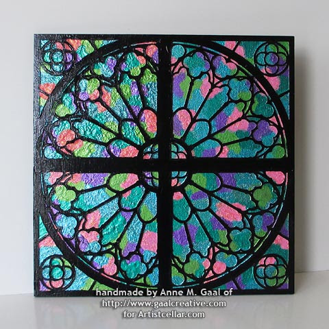 Reims Cathedral Window Mixed Media Panel  by Anne Gaal of Gaal Creative at http://www.gaalcreative.com - Feel free to pin and re-pin! ♥
