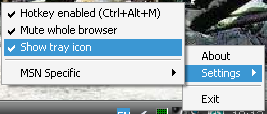 FlashMute right-click menu