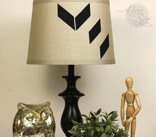 Genometric stenciled lamp shade
