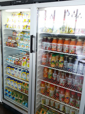 The chilled beverage section.