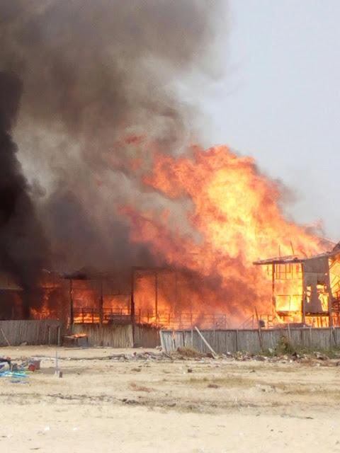 Two Restaurant Burned to flat at Elegushi Beach.