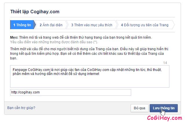 thiết lập fanpage facebook
