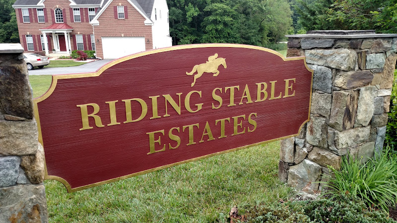 Sandblasted sign with gold leaf - Riding Stable Estates