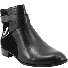 Vamp up your every day style with the Anne Klein Kael ankle boots. These leather boots feature suede side panels and straps that wrap around the ankle, finished off with silver metallic accents. The fabric lining and padded insole work to provide you with a comfortable fit. The heel is only 1 inch tall, and features a stacked style, allowing you to stay on your feet during even your busiest of days.