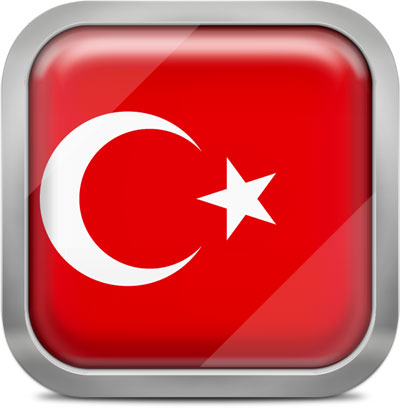 Turkey square flag with metallic frame
