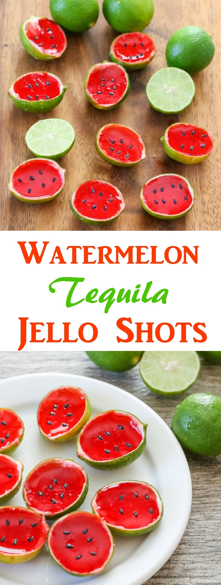 watermelon tequila jello shots photo collage