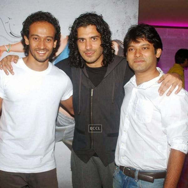 Saahil Prem poses with Abhishek Saha and Akhilesh Unnithan during the trailer launch of Bollywood movie Mad About Dance, held at Fun Republic, on July 16, 2014.(Pic: Viral Bhayani)