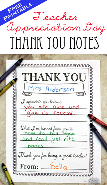 Teacher Appreciation Day Printable Thank You Notes