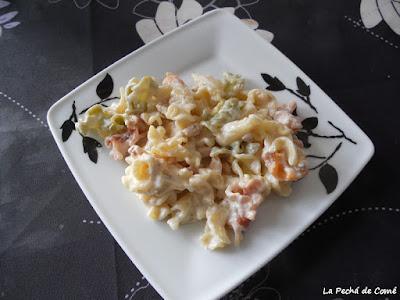 Pasta con crema de quesos y nueces
