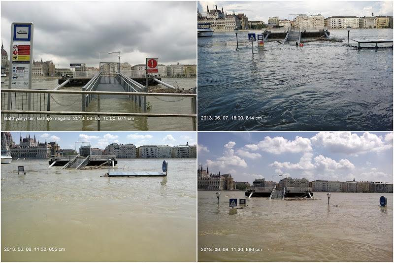 Árvíz 2013 - hajóállomás a Batthyány téren
