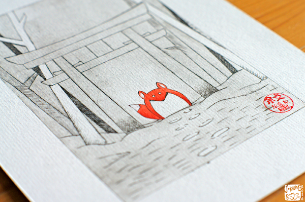 Image d'un kitsune sous un torii avec la technique du Tetra-Print, de la gravure sur Tetra Pak