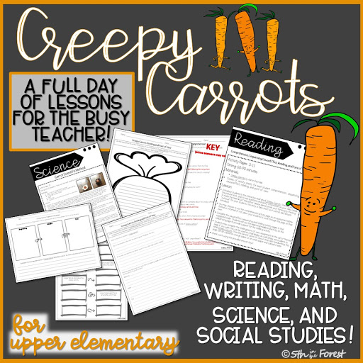 Thumbnail to buy Creepy Carrots full day of lessons plans for Halloween from Teachers Pay Teachers