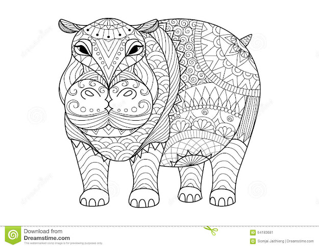 Hand Drawn Zentangle Hippopotamus For Coloring Book For Adult Tattoo  Shirt Design And Other