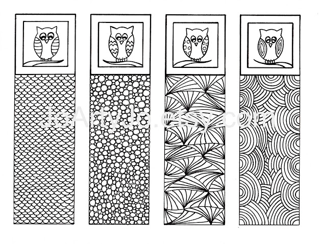 Zentangle Inspired Printable Bookmarks To Color Zendoodle Art Digital  Download Sheet   Colors Zen Doodle And Art