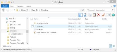 Dropbox für Geocacher: Screenshot Dropbox-Verzeichnis