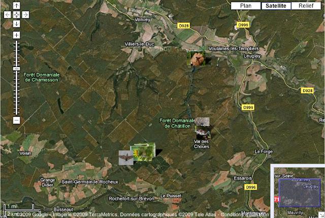 Localisation des photos en Forêt de Châtillon