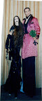 Morticia & Gomez on stilts