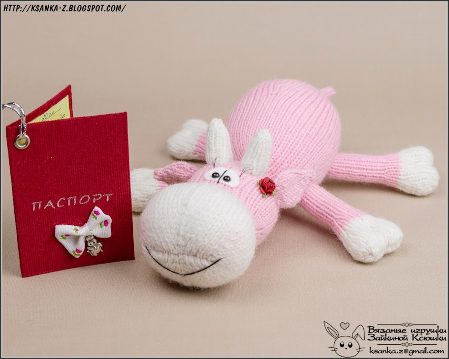 Амигуруми, вязаные игрушки, игрушки спицами, игрушки крючком, вязаная корова, коровка спицами, Amigurumi, crocheted toys, Knitting toys, Knitted kow