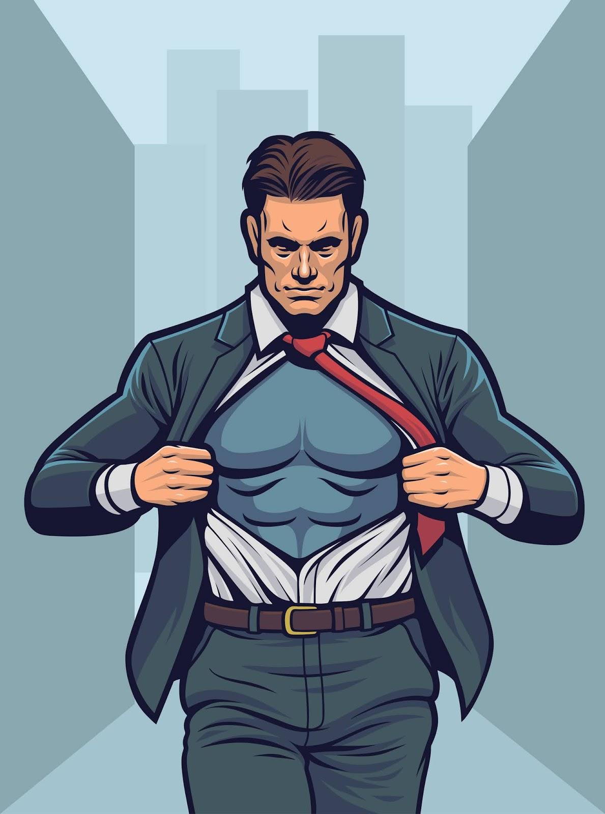 Superhero Tearing Shirt Free Download Vector CDR, AI, EPS and PNG Formats