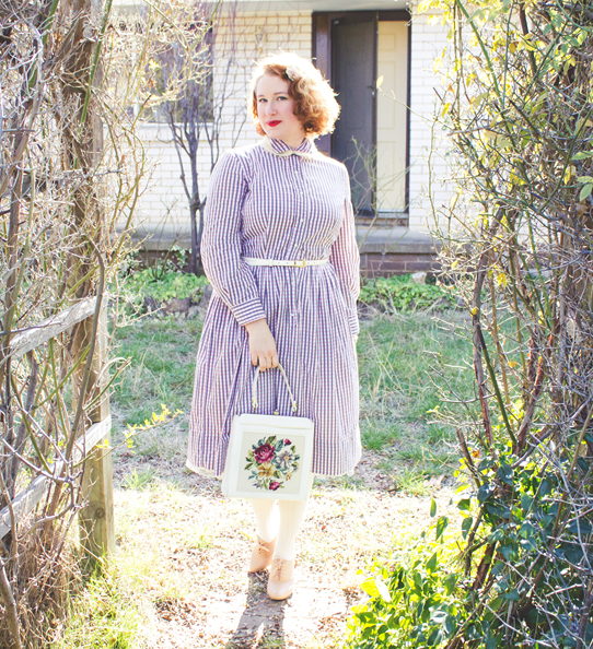 A pink and grey gingham vintage 1950's frock | Lavender & Twill