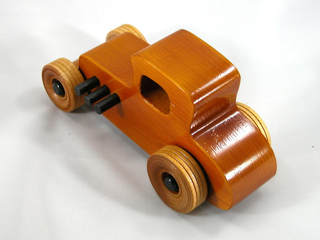 Handmade Wood Toy Car Hot Rod Freaky Ford 27 T Coupe Pine Amber Shellac and Black Trim