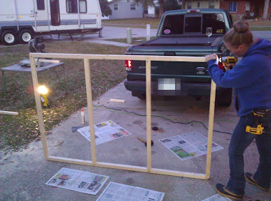 Putting the coop support wall together