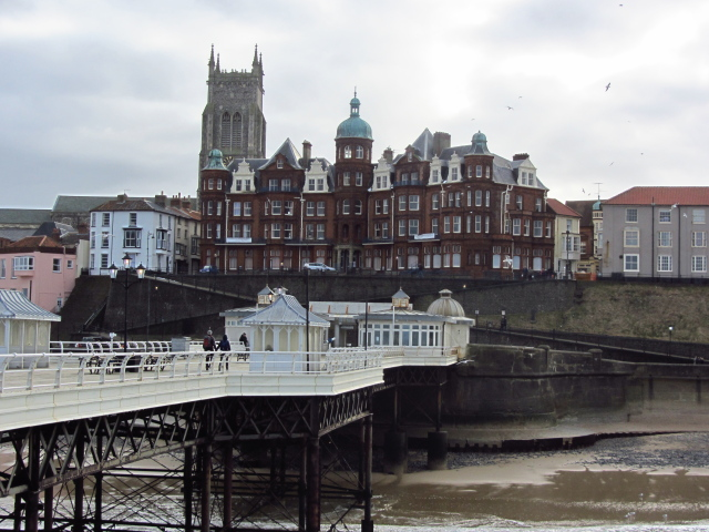 looking back at hotels from the pier