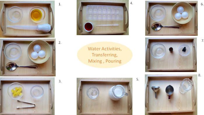 Water activities toddlers, water activities Montessori, water children, trays transferring, Montessori transferring pouring, baster,