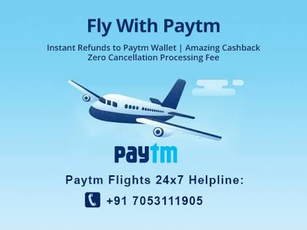 Paytm - Get Rs.500 Cashback On Flight Ticket Bookings