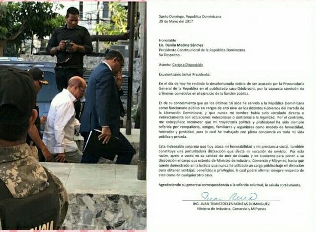 Temito Cles Montas pone su su cargo de ministro de industria y comercio a disposición del presidente Danilo Medina