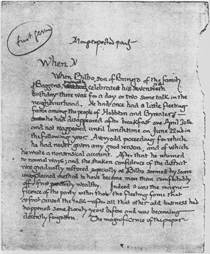 J.R.R. Tolkien's original first page for Lord of the Rings, 1937. (500x604)