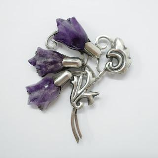 Silver & Amethyst Floral Brooch