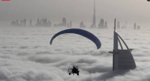 Sheikh Hamdan over the fog