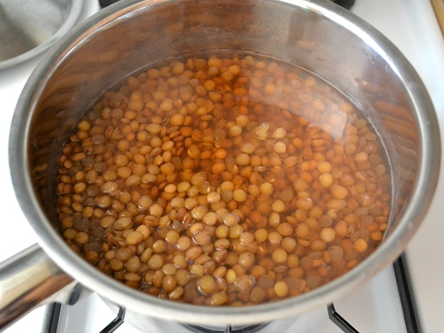cooked lentils in pot of water