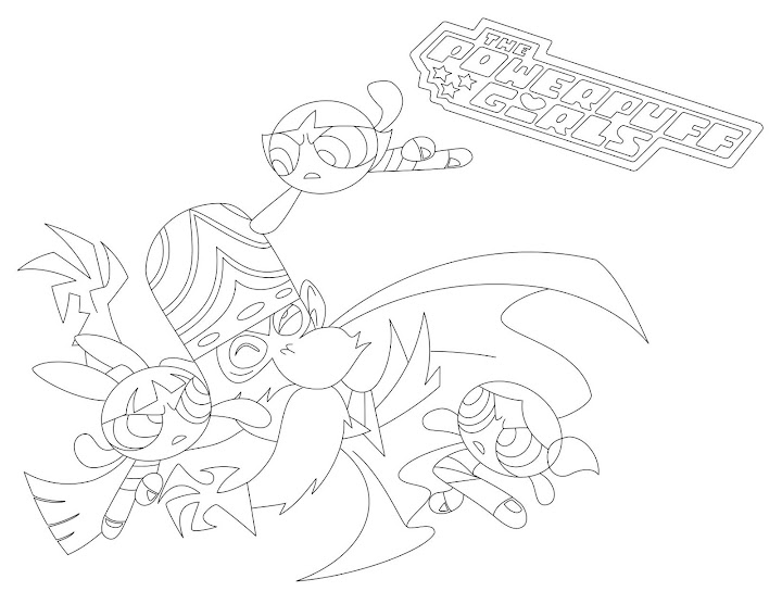 Powerpuff Girls vs Mojo Jojo Coloring Page