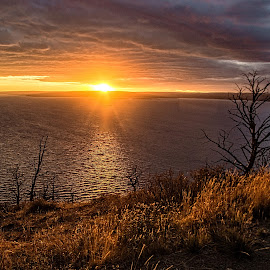 Yellowstone Lake Sunset by Richard Michael Lingo - Landscapes Sunsets & Sunrises ( yellowstone lake, sunset, lake, wyoming, landscape )