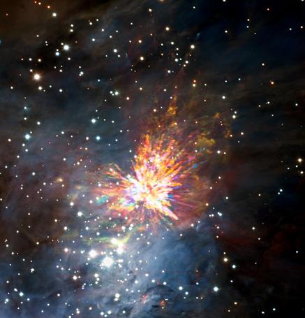 explosão estelar em Órion