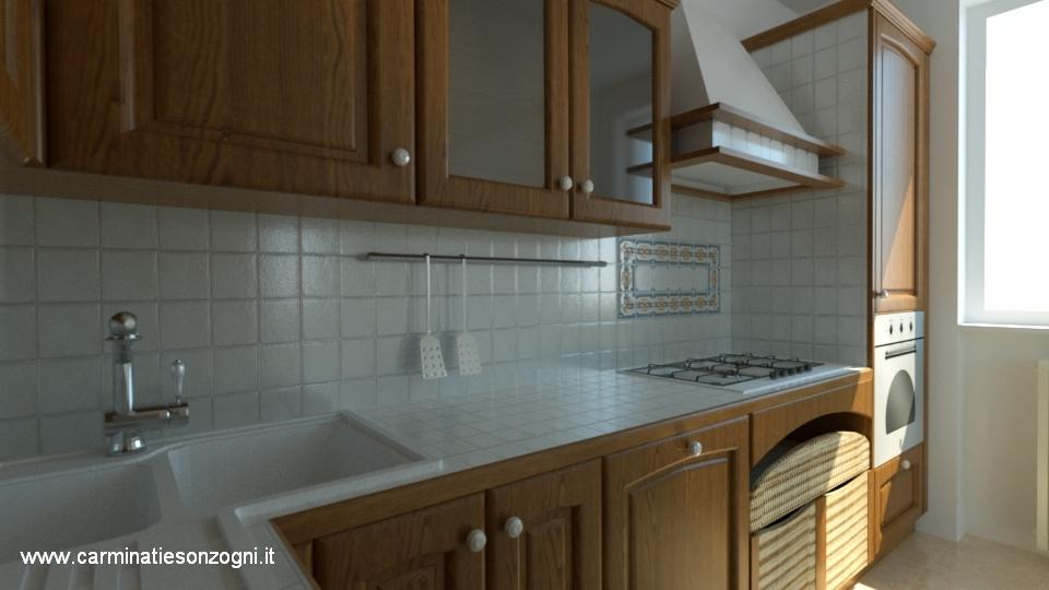 Veduta di particolari di cucinsa Snaidero mod. Ginestra castagno con piastrelle.jpg