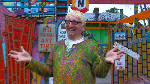 Randy Gilson showing off Randyland, his incredible handmade paradise in one of Pittsburgh's poorest neighborhoods. From the film Pursuing Happiness