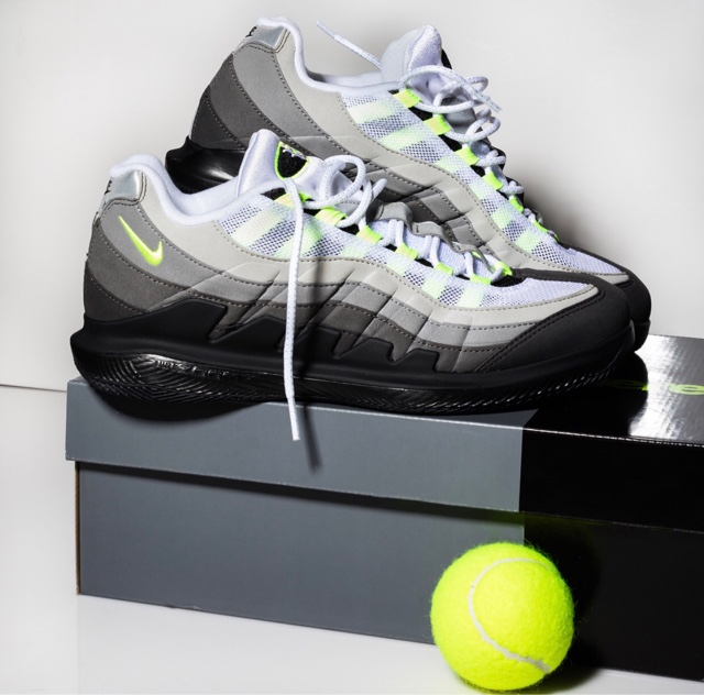 """8da0078a4b4 The new Vapor RF x AM95 """"Neon"""" matches the lightweight innovation of Roger  Federer s NikeCourt Vapor X with the iconic Air Max 95."""