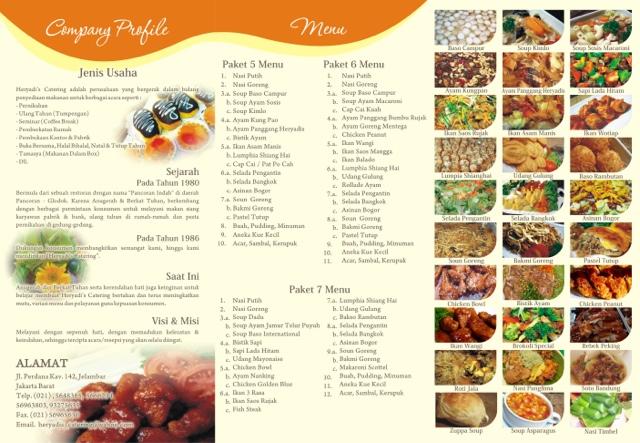 Daftar Menu Brosur Heryadis Catering